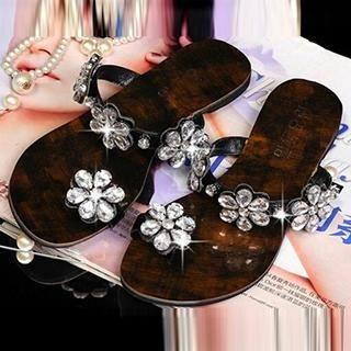 SouthBay Shoes - Rhinestone Flower Toe-Loop Sandals