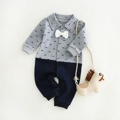 JIMIJIMI - Baby Mustache Print Collared One-Piece