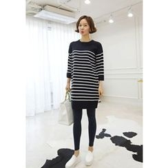 Lemite - Crew-Neck Stripe Knit Dress