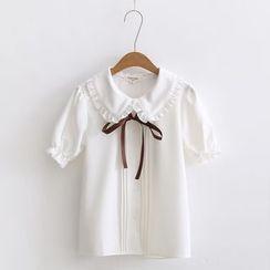 Moricode - 短袖荷叶边衬衫