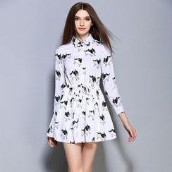 巧妮儿 - 长袖印花腰结带连衣裙