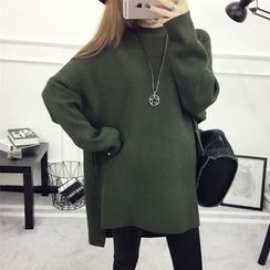 Emeline - 纯色长尾长款毛衣