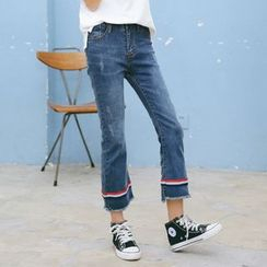 MOJIN - Boot-Cut Slim Fit Cropped Jeans