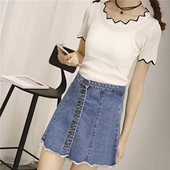 Honey House - Buttoned A-Line Denim Skirt