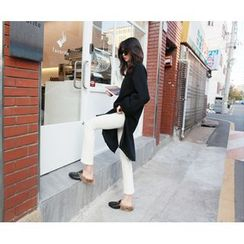 MARSHMALLOW - Brushed Fleece-Lined Slit-Side Long Top
