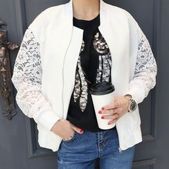 DANI LOVE - Lace-Sleeve Zip-Up Jacket