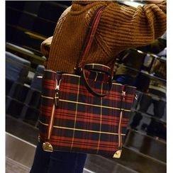 Aishang - Set: Plaid Tote + Crossbody Bag