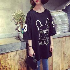 A7 SEVEN - Dog Print Elbow-Sleeve T-shirt