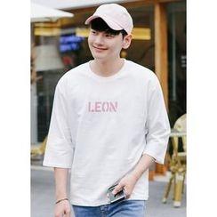 JOGUNSHOP - Elbow-Sleeve Lettering T-Shirt