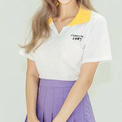 chuu - Contrast-Collar Lettering Polo Shirt