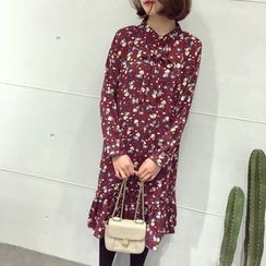 A7 SEVEN - Floral Print Long-Sleeve Stand-collar Chiffon Dress