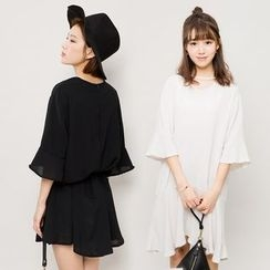 Heynew - Cutout Bell-Sleeve Dress