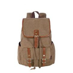 Kaukko - Faux-Leather Panel Buckled Canvas Backpack