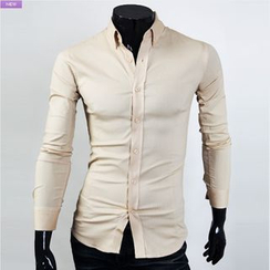 WIZIKOREA - Colored Slim-Fit Shirt