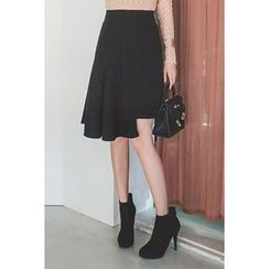 migunstyle - Band-Waist Asymmetric-Hem Skirt