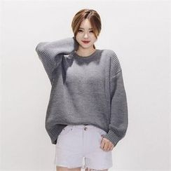 LIPHOP - Loose-Fit Round-Neck Knit Top