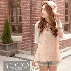 Tokyo Fashion - Elbow-Sleeve Lace Overlay Blouse