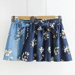 Suzette - Floral Print A-Line Denim Skirt