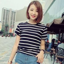 Mayi Ayamo - Short-Sleeve Striped T-Shirt
