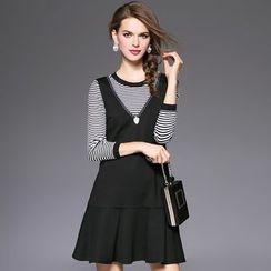欧依潮派 - 套装: 条纹针织上衣 + 无袖V领拼接连衣裙