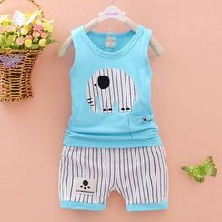 POMME - Kids Set: Elephant Applique Tank Top + Striped Pants