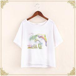 Fairyland - Dolphin Print Short-Sleeve T-Shirt