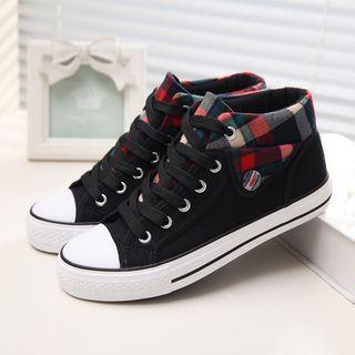 Solejoy - Plaid-Trim Canvas Sneakers