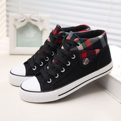 Solejoy - Plaid-Trim Canvas Sneakers