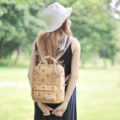 SUPER LOVER - Anchor Print Canvas Backpack