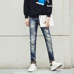 MEING - 水洗做舊修身牛仔褲