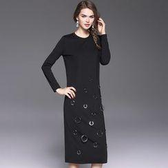 Ozipan - Long-Sleeve Paneled Dress