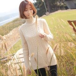 Coolvibe - Mock-Neck Slit-Side Cable-Knit Sweater