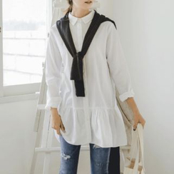 JUSTONE - Ruffle-Hem Long Cotton Blouse
