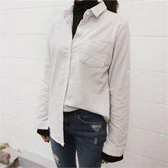 QNIGIRLS - Pocket-Front Stripe Shirt