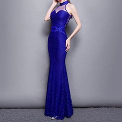 Posh Bride - Embellished Sleeveless Mermaid Evening Gown