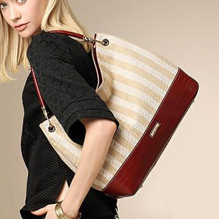 MBaoBao - Croc-Grain Panel Striped Hobo Bag
