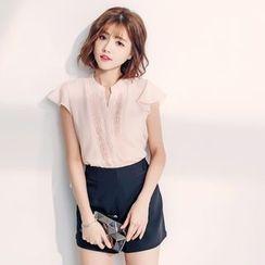 東京著衣 - 短袖刺繡襯衫