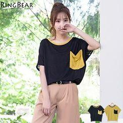 RingBear - 清爽透凉独特品味圆领蝴蝶短袖箱型口袋宽版上衣