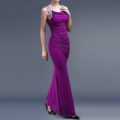 AIXI - Rhinestone Sleeveless Ruched Evening Gown