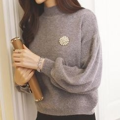 anzoveve - Embellished Mock Neck Lantern Sleeve Sweater