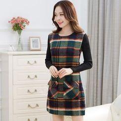 Sienne - Plaid Mock Two-Piece Dress