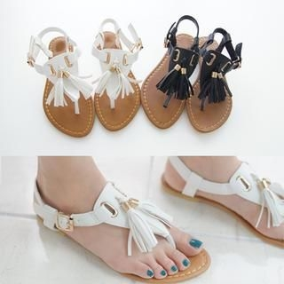 45SEVEN - Faux-Leather Tassel-Accent Thong Sandals