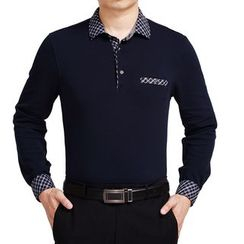 SENTA - Plaid Collar Long Sleeve Polo Shirt