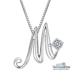 Leo Diamond - Initial Love 18K White Gold Diamond Pendant Necklace (16') - 'M'