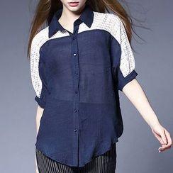 妮佳 - 飾蕾絲麻混紡襯衫