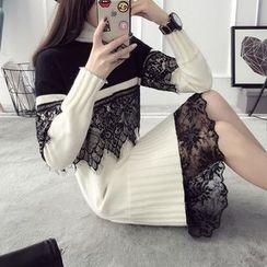 Qimi - Long-Sleeve Lace Trim Knit Dress