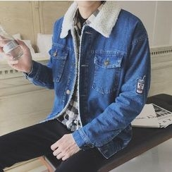 Bestrooy - Embroidered Fleece Lined Denim Jacket