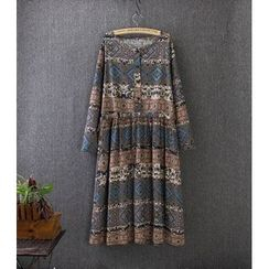 Blue Rose - Print Long-Sleeve Drawstring Waist Dress