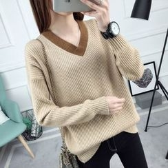 anzoveve - Contrast Trim V-Neck Sweater