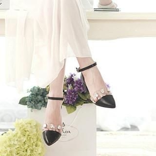 QQ Trend - Crystal Accent Ankle-Strap Pointy Pumps